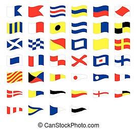 internationell, signal, isolerat, kust, vinka, bakgrund, nautisk, flaggan, vit