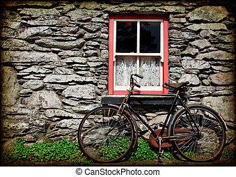 irländsk, grunge, struktur, lantlig, stuga, cykel