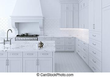 island., render, matlagning, kök skåp, vit, luxuös, 3