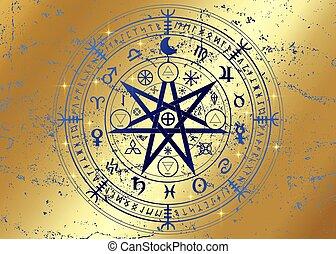 isolerat, vektor, gyllene, år, runes, hjul, divination., mull, symboler, undertecknar, eller, astrologiska, häxor, forntida, symbol, zodiaken, mystisk, mandala, wiccan, guld, ockult, protection., wicca, bakgrund