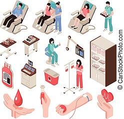 isometric, donator, sätta, blod