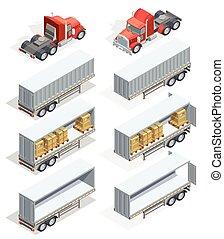 isometric, sätta, lastbil, ikon