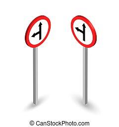 isometric, sätta, skylt., rak, väg, vänster