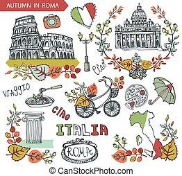 italien, rom, sätta, gränsmärke