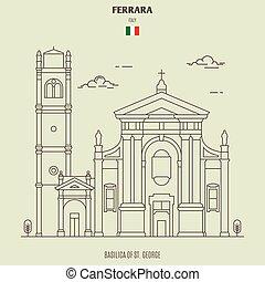 italy., st.  george, gränsmärke, basilika, ikon, ferrara