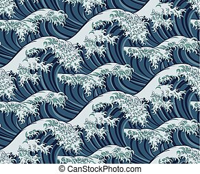 ivrig, mönster, seamless, våg, japansk, bakgrund