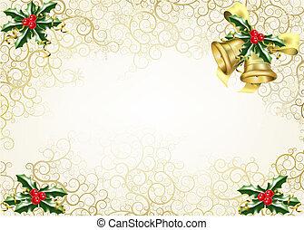 järnek, jul, bakgrund, sätta en klocka på