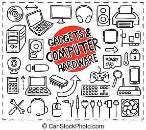 järnvaror, klotter, ikonen, dator