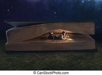 jättestor, insida, kvinna, bok, läsning