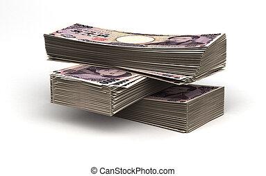japansk, stack, yen