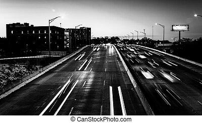 jones, baltimore, nedgångar, trafik, maryland., gripande, skymning, motorväg