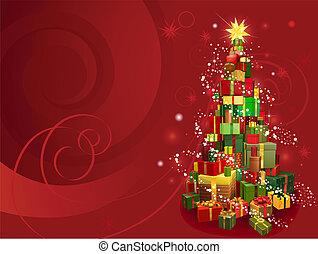 jul, bakgrund, röd
