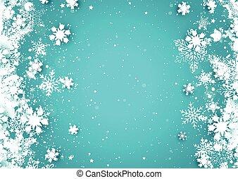 jul, bakgrund, snöflinga
