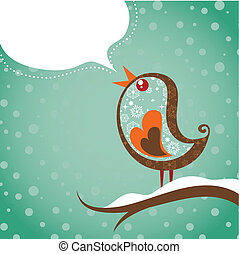 jul, fågel, bakgrund, retro