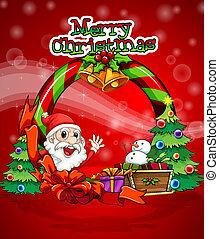 jultomten, färgrik, mall, jul