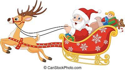 jultomten, hans, tecknad film, släde, jul