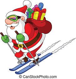 jultomten, skidåkning