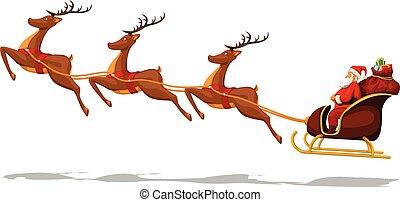 jultomten, släde, deers