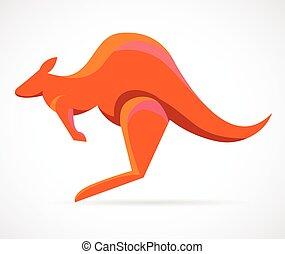 känguru, vektor, -, illustration