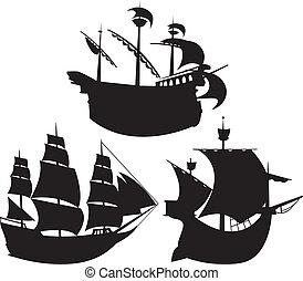 kärl, silhouettes, sätta, segla
