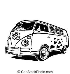 kärlek, bil, resa, fred, illustration, vektor, retro, skåpbil