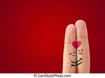 kärlek, ?, par, lycklig