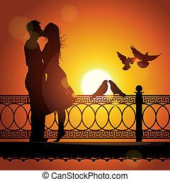 kärlek, par, silhuett, solnedgång, kyssande