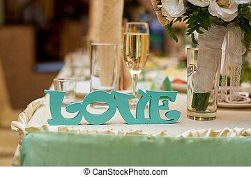 kärlek, trä, brudgum, brud, bröllop, breven, bord