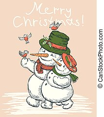 kärleksfullt par, kort, snowmen, jul