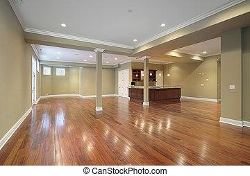 kök, konstruktion hemma, färsk, källarvåning