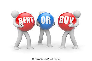 köpa, hyra, eller