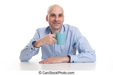 kaffe kopp, te, drickande, eller, man