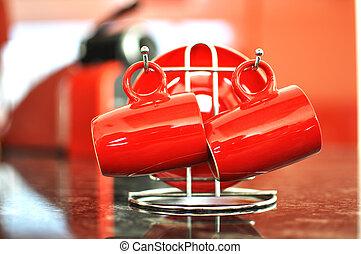 kaffe satte, röd