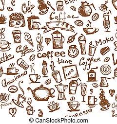 kaffe, seamless, tid, design, bakgrund, din