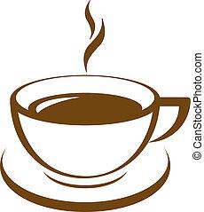 kaffe, vektor, ikon, kopp
