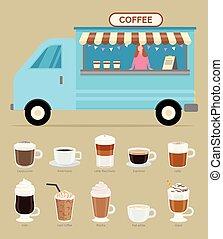 kaffeaffär, säljare, dryck, släpvagn, slagen