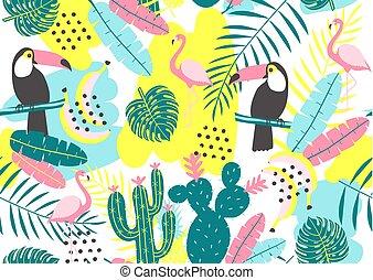 kaktuser, tropisk, mönster, leaves., seamless, flamingor, tukan, exotisk