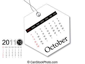 kalender, oktober, 2011