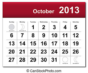 kalender, oktober, 2013