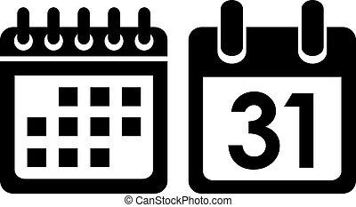 kalender, vektor, ikon