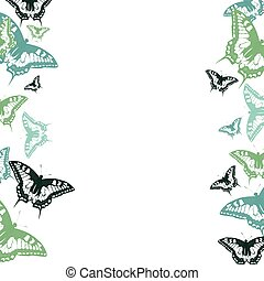 karneval, vykort, illustration, bakgrund., mönster, fjäril, helgdag, ram, affisch, vektor, birthday., struktur
