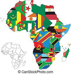 karta, flagga, afrika, kontinent