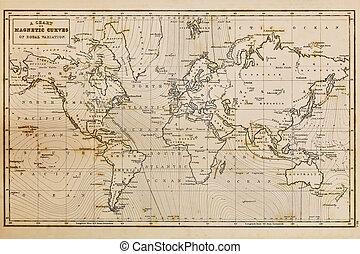 karta, gammal, årgång, hand, värld, oavgjord