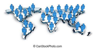 karta, global, värld, signaltjänst
