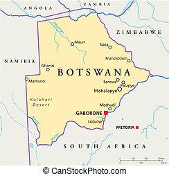 karta, politisk, botswana