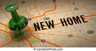 karta, pushpin, -, bakgrund., grön, nytt hem