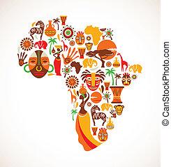 karta, vektor, afrika, ikonen