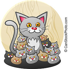 kattungar, kull, katt, mor