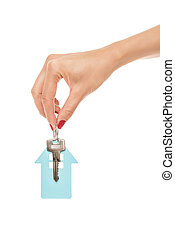 keychain, fästen, house., hand, form, nyckel