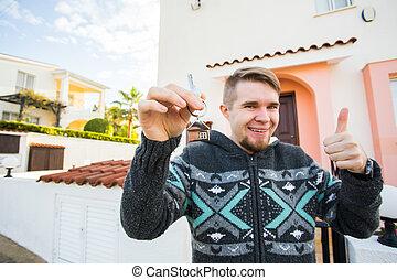keychain, format, stämm, hus, ung, holdingen, främre del, färsk, home., man